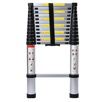 EN131 Professional Use Extendable 6061 Aluminum Alloy Telescoping Ladder 12.5'ft