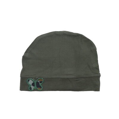 - Womens Soft Beanie Sleep Cap Olive Green Hat w/Army Green Butterfly Applique
