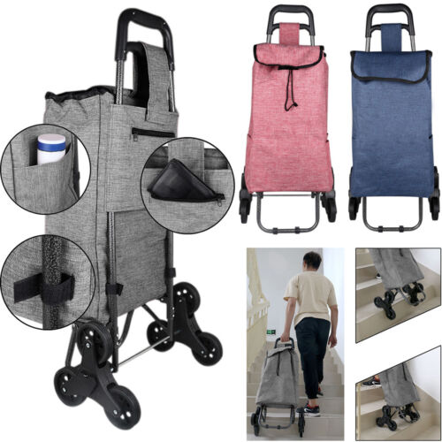 6 Wheel Upgraded Folding Shopping Cart Stair Climbing Grocery Laundry Cart + Bag