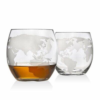 Godinger Old Fashioned Whiskey Glasses, Etched Globe Map - Set of -