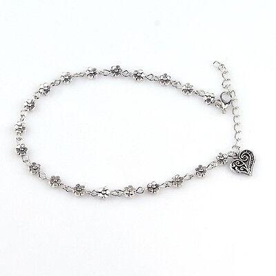 Women Bead Chain Anklet Ankle Bracelet Barefoot Sandal Beach Foot Silver LW