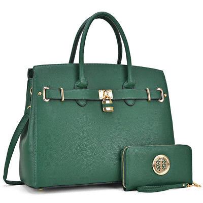 Women Classic Handbags Satchel Bags w/ Matching Wallet Purse and Padlock