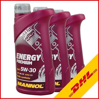 3L (3x1) Mannol Motoröl Energy Premium 5W-30 für MB 229.51 Dexos2 BMW LL-04