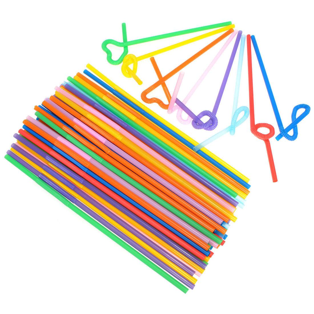 100PCS Super Extra Bendy Long Mega Drinking Straws 10.23 Coloured Party Gift