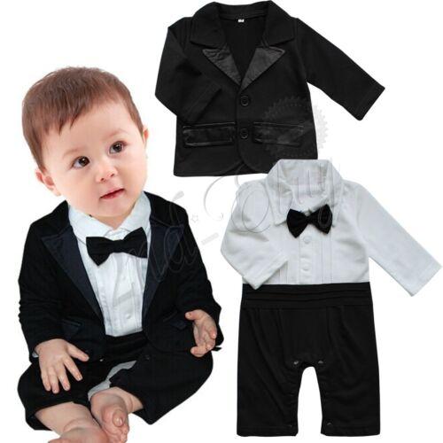 bc62d3fb9 Details about Baby Boys Tuxedo Wedding Xmas Romper Jacket Formal Wear Suit Outfit  Clothes Set