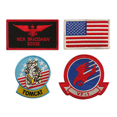 Top Gun Movie Goose Nick Bradshaw Costume Patches (4PC Set - Hook Fastener)](Top Movie Costumes)