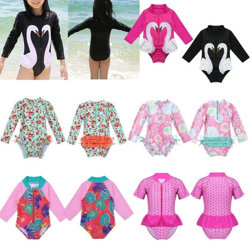 Children Swimwear Long Sleeve Baby Girl Swimsuit One Piece Toddler Infant UV50