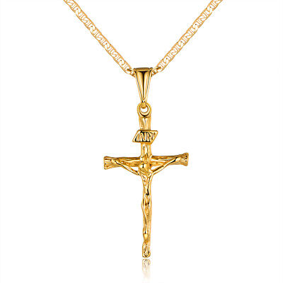 Sevil Unisex 18K Gold Plated Crucifix Pendant With Flat Marina Chain Necklace