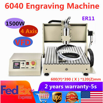 Usb 4axis Cnc 6040 Router Engraver Carving 3d Cutter Vfd Milling Machine 1.5kw