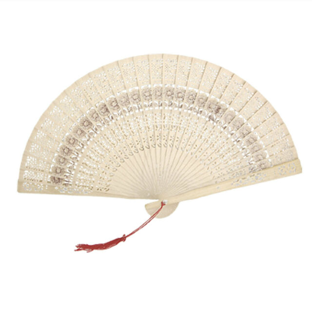 Folding Wooden Carved Sunflower Print Fragrant Hand Fan WS