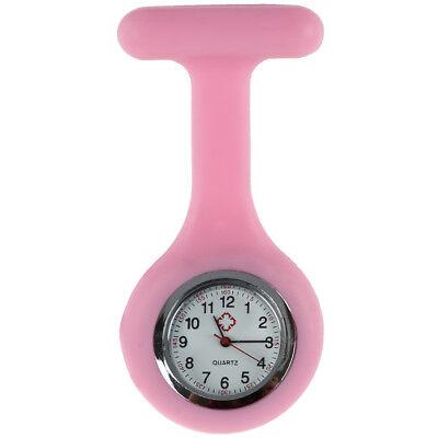 Krankenschwestern Brosche Silikonkautschuk Uhr Taschenuhr für Kasack  Pink H5L4