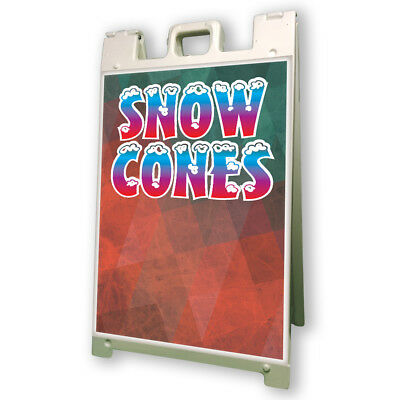 Snow Cones Sidewalk Sign Retail A Frame 24x36 Concession Stand Outdoor Vinyl