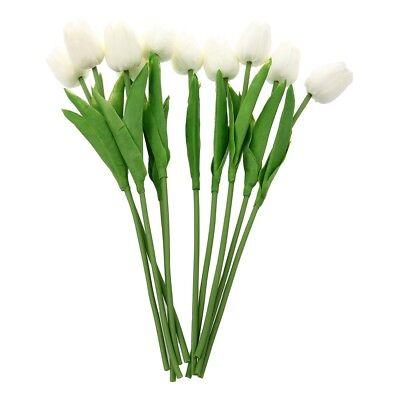 White Tulip - 10 pcs White Tulip Flower Latex For Wedding Bouquet KC456 - white N2B2