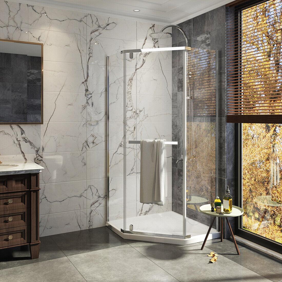 36 X 36 X 72 Neo Angle Pivot Corner Shower Door 1 4 Tempered Clear Glass