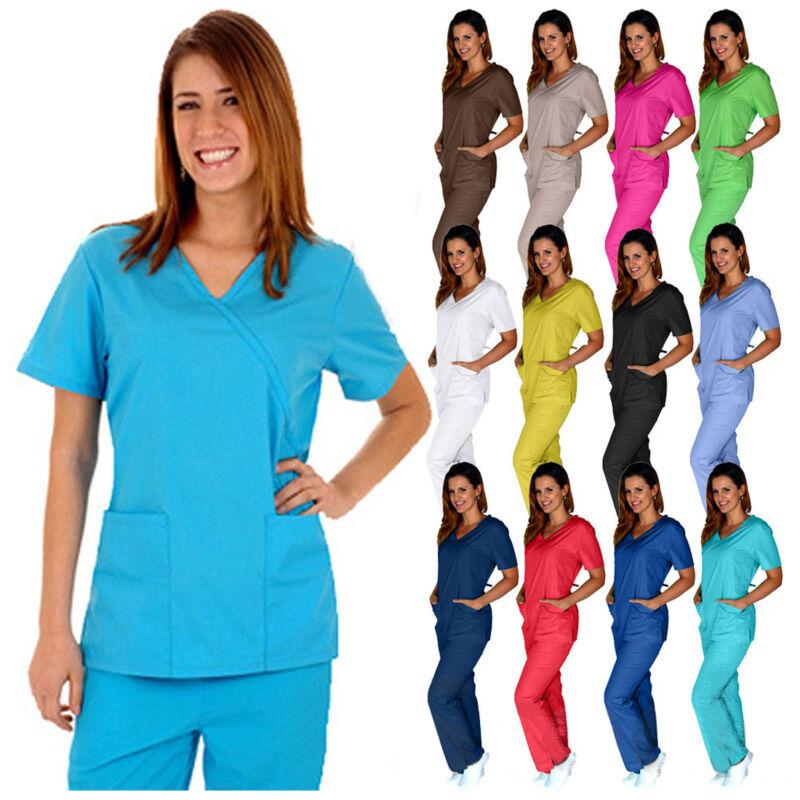 Medical Nursing Women Scrubs Sets UNIFORMS Size XS S M L XL 2XL 3XL Mock Wrap