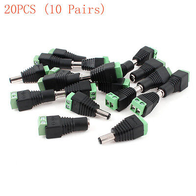 CCTV Camera DVR 5.5mm x 2.1mm DC Power Female Male Jack Connector Plugs 20 Pcs