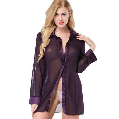 Womens Sheer Mesh Sleepshirt Nightshirt Sleep Shirts Tops Blouses Sleepwear