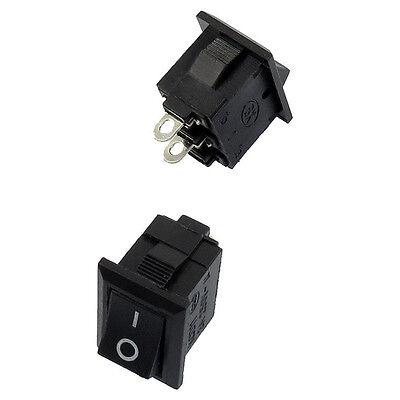 10 Pcs Spst Mini Black 2 Pin Rocker Switch Ac 125v 10a 250v 6a N3