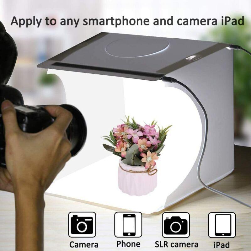 "12"" Portable Photo Studio Lighting Box Photography Backdrop Double LED Light"