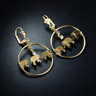 Sevil 18K Gold Plated Triple Elephant Hoop Earrings With Swarovski Elements