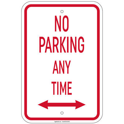 Heavy Gauge No Parking Any Time With Double Arrow Sign 12x18aluminum Signs