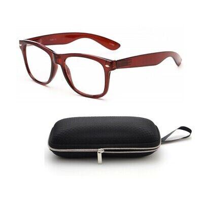 READING GLASSES Wayfarer Geek Nerd Retro Brown POWER LENS NEW MEN WOMEN (Mens Wayfarer Reading Glasses)