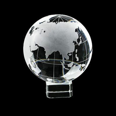 80mm Genuine Crystal World Globe Earth Sphere Etched Frosted Glass Ball