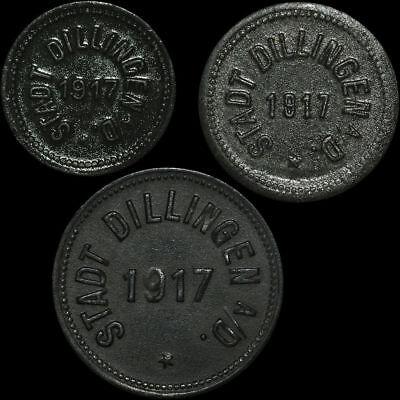 NOTGELD: 5, 10 & 50 Pfennig 1917. Funck 94.1, 2 & 3. STADT DILLINGEN / BAYERN.
