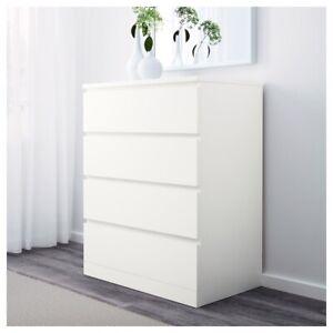ikea MALM white storage 4 drawer chest