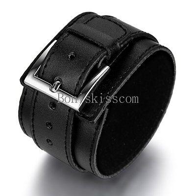 Punk Rock Black Leather Handcrafted Wide Belt Men's Bracelet Birthday - Punk Rock Birthday
