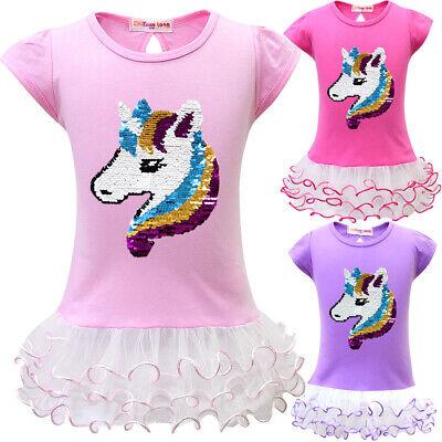 Girl Princess Sequin Unicorn  Tutu Dress Party Birthday Dress Up Costume ZG9](Unicorn Dress Up Costume)