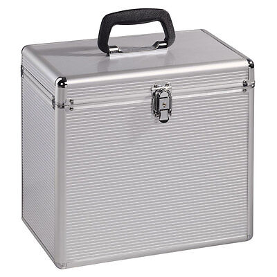 "HAMA 12"" LP VINYL RECORD ALUMINIUM LOOK FLIGHT CASE HOLDS 50 LP`S 33897"