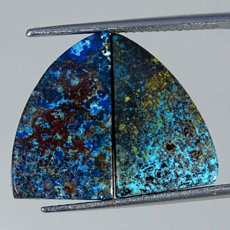 13.10Cts Natural Blue Azurite Fancy Pair Cabochon Loose Gemstone