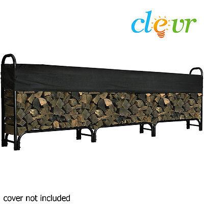 12ft Outdoor Heavy Duty Steel Firewood Log Rack Wood Storage Holder Black