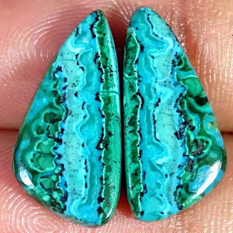 10.70Cts Natural Malachite Chrysocolla Pair Fancy Cabochon Loose Gemstone