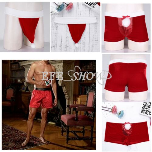 7929729eaf2e Men's Christmas Holiday Velour Boxer Shorts Santa Claus Costume Thongs  UnderwearUSD 3.95