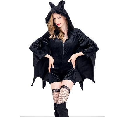 Gothic Freche Fledermaus Hoodie Kleid Halloween Vampir Flügel  Kostüm Schwarz