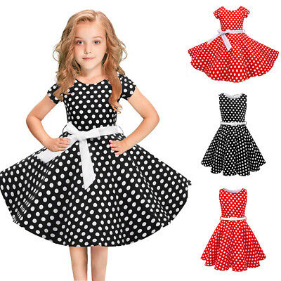 50s Clothes For Girls (Kids Audrey Vintage Polka Dot 50s Girls Swing Dress for Wedding Pageant)