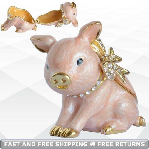 Pig Metal Enamel Hinged Jewelry Trinket Box With Lid Jeweled Rhinestone Ornament