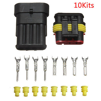 10 Kits Car 4 Pin Way Sealed Waterproof Electrical Wire Auto Connector Plug Sets