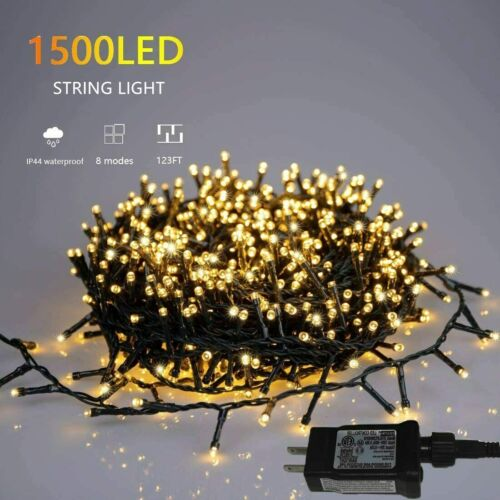 1500 LED Indoor String Light 8 Modes Christmas Lights for Home, Christmas Tree W