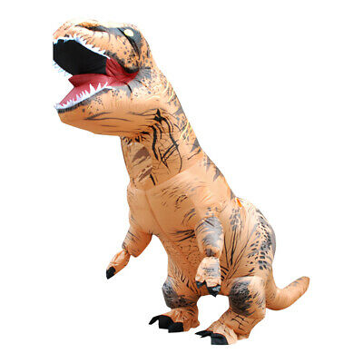 Inflatable T-Rex Dinosaur Costume Adult Fancy Dress Blow Up Suit-Brown - Blow Up T Rex