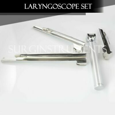 Miller Laryngoscope Set Surgical Veterinary Instruments 3 Blades 1 Small Handle