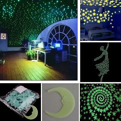 100 pcs 3D Stars Glow In The Dark 1x Moon Luminous Fluorescent DIY Wall Stickers (Glow In The Dark Stars Stickers)