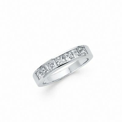 Half Eternity Invisible Princess Cut CZ Wedding Band Ring 925 Sterling Silver