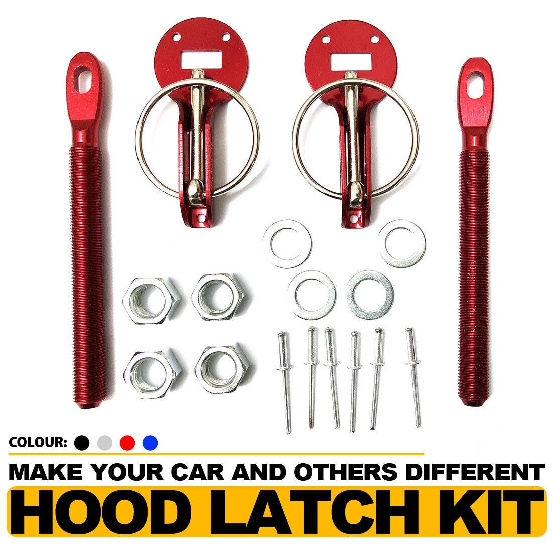 Black Alloy Steel Mount Bonnet Hood Pin Pins Lock Latch Kit Racing Car Universal