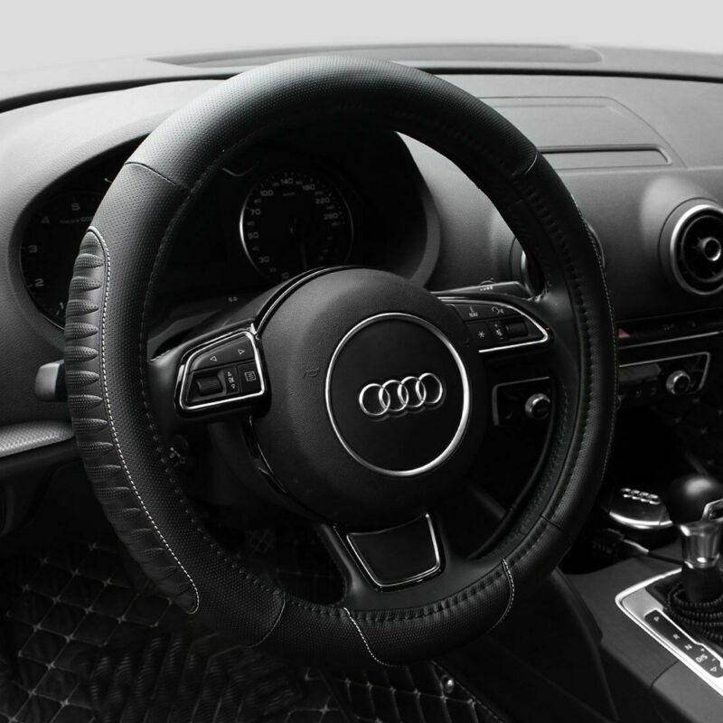 15'' PU Leather Car Steering Wheel Cover Sedan Black Universal Fit Protection