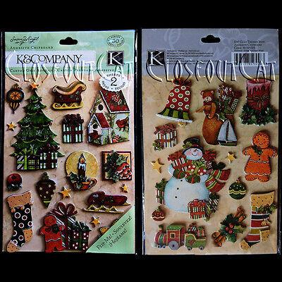 - K & COMPANY SW Susan Winget Glad Tidings Adhesive Chipboard Christmas Tree Toys