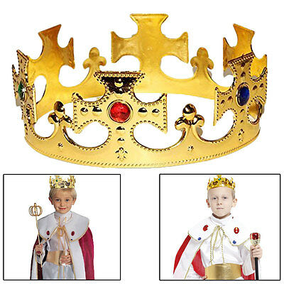 Plastic Kings Crown Hat Kids Set of 2 Jeweled Majestic Regal Gold Crown - Gold King Crown
