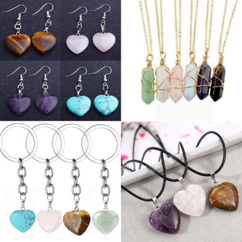 Jewellery - Heart Gem Pendant Necklace Natural Quartz Crystal Point Chakra Healing Stone